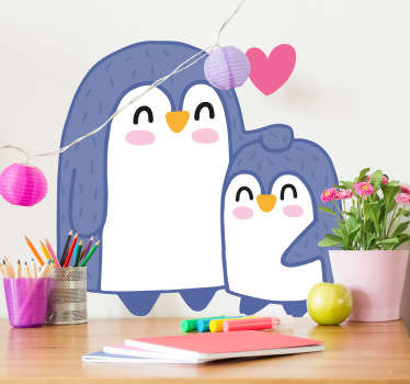 A fun and playful illustration of a friendly penguin with big eyes from our collection of penguin wall stickers for kids.
