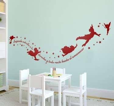 Fairy tale wall sticker decoration with peter pan character for children bedroom space. It is available in different colour options.