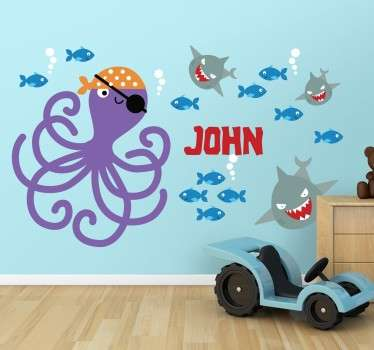 Octopus Pirate Name Customisable Kids Sticker