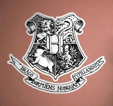 A logo decal from our collection of Harry Potter wall stickers illustrating the emblem of the famous Hogwarts School of Witchcraft and Wizardry.