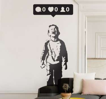 A fascinating piece of art by the famous urban artist, Banksy! A superb decal for your home from our collection of Banksy wall stickers!