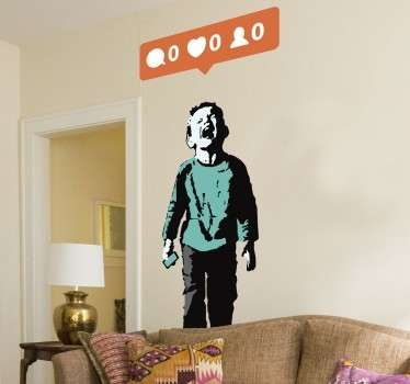 A superb design illustrating Banksy's work! The perfect wall decoration from our collection of Banksy wall stickers to decorate your home.