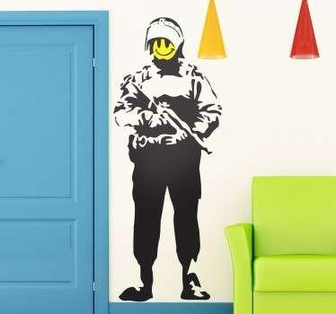 Sticker Banksy policier smiley