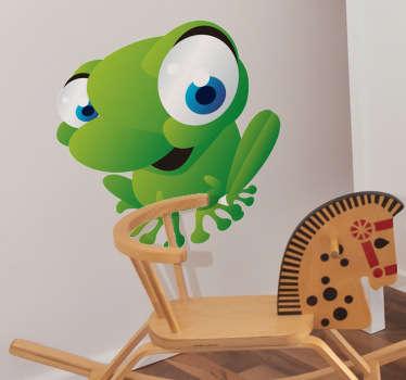 Vinilo infantil de una simpática rana verde preparada para saltar hacia los niños que la miran para poder jugar con ellos.