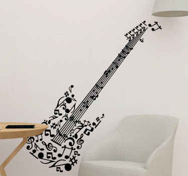 Musikalsk notater gitarmur klistremerke