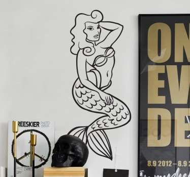 A fascinating outline of a mermaid tattoo decal from our collection of mermaid wall stickers to decorate any room of your choice.