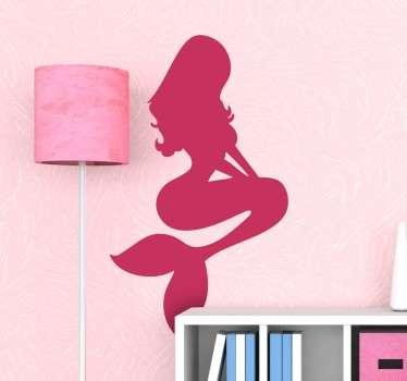 Sjöjungfru silhouette vägg klistermärke