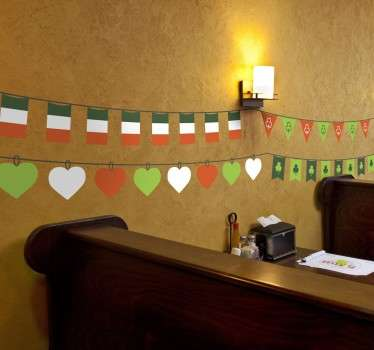 A superb Saint Patrick's Day design from our collection of bunting wall stickers to celebrate in style! Decorate your home!