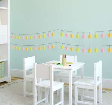 A brilliant star design from our collection of bunting wall stickers to decorate your home This design includes four banners to place on your wall.