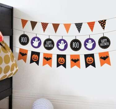 A creative design from our collection of bunting wall stickers illustrating four sets of banners each with different Halloween related designs.