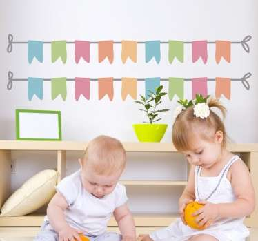 A set of 4 bunting banners to decorate the bedroom of your children or their play area. Design from our collection of bunting wall stickers.