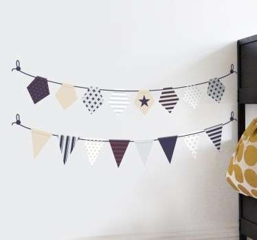 A marvellous elegant bunting decal from our collection of bunting wall stickers to decorate any space at home or work.