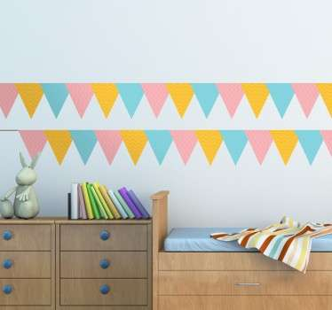 A colourful set of party banners from our superb collection of bunting wall stickers to decorate the bedroom or play area of the little ones.