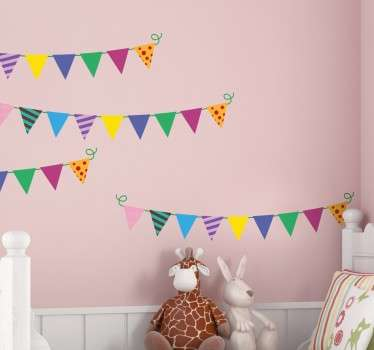 Bunting flag stickers, designed for decorating nurseries and children's birthday parties.