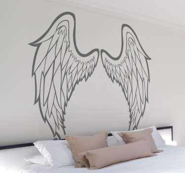 An outline illustration of two symmetrical wings ideal for any room in your house. A design from our collection of angel wings wall art stickers.