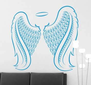 An illustration of angel wings of this mythological being ideal from our collection of angel wings wall art stickers for any type of room.