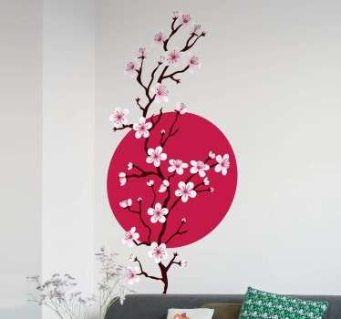 A beautiful pink cherry branch decal from our collection of Japanese wall stickers to decorate those empty spaces at home.