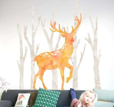 Watercolour Deer in Forest Wall Sticker