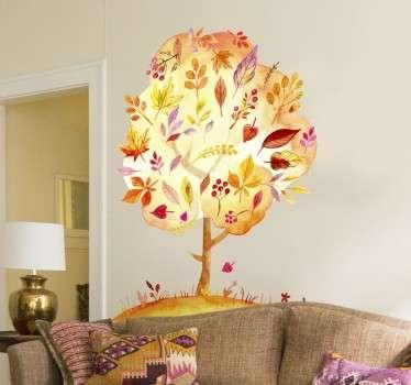 Vinilo decorativo árbol otoñal del bosque