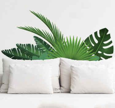 наклейка из тропических листьев