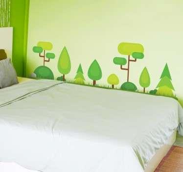 Vinilo decorativo ilustración bosque abstracto