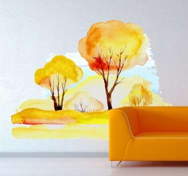 Vinilo decorativo paisaje bosque acuarela