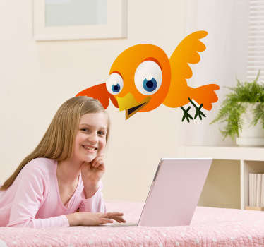 Kids Bird Stickers - A cute design of a yellow bird with blue eyes. Our kids bedroom stickers are easy to apply and leave no residue upon removal.
