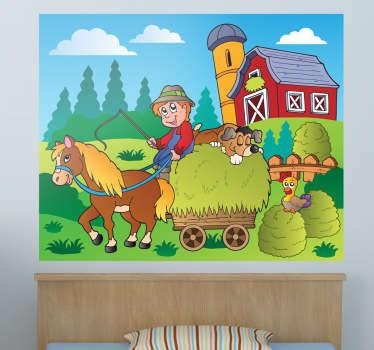 Vinilo infantil caballito en la granja