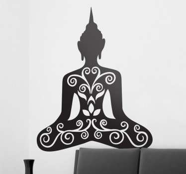 A silhouette design illustrating a Buddha with a floral design from our collection of Buddha wall stickers to give your home a personalised touch.