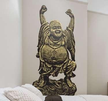 Vinilo decorativo escultura Buda contento