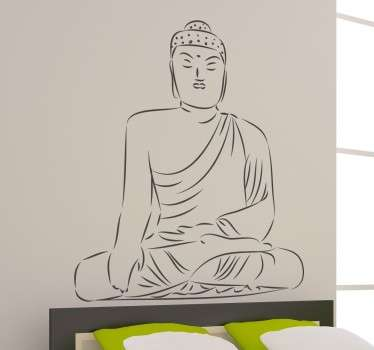 An outline of a Buddha from our collection of Buddha wall stickers to give your home a peaceful and calm atmosphere.