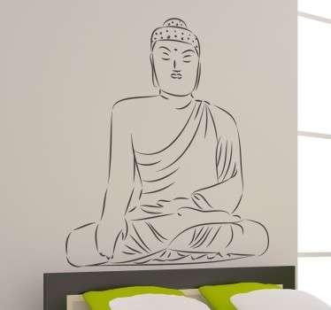 Tekening mediterende Boeddha sticker