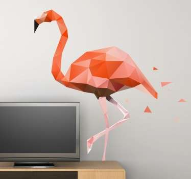 Geometrik pembe flamingo duvar sticker