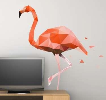 геометрическая розовая наклейка с фламинго