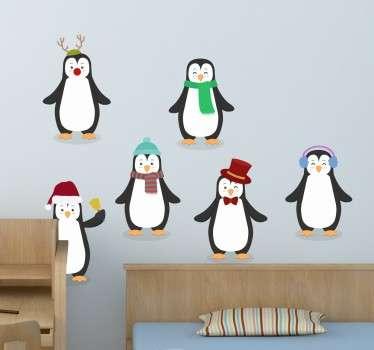 Winter kerst pingïuns sticker