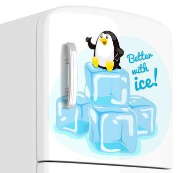 A creative decal illustrating a baby penguin with the text 'Better with ice' from our collection of penguin wall stickers.