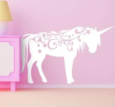 çocuklar için unicorn duvar çıkartması