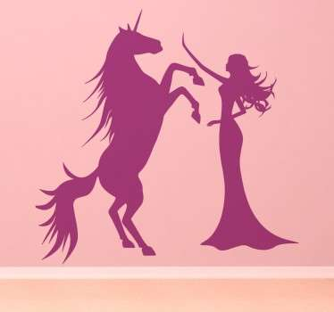 Sticker princesse licorne