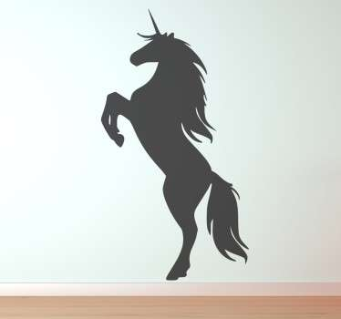 A superb and creative design illustrating a magical creature that kids love! A monochrome decal from our collection of unicorn wall stickers.