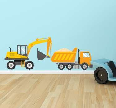 孩子自卸车和挖掘机墙贴纸