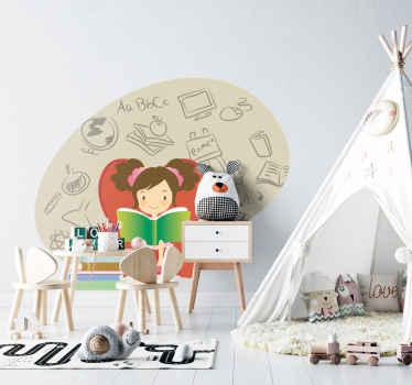 Sticker kinderen lezend meisje