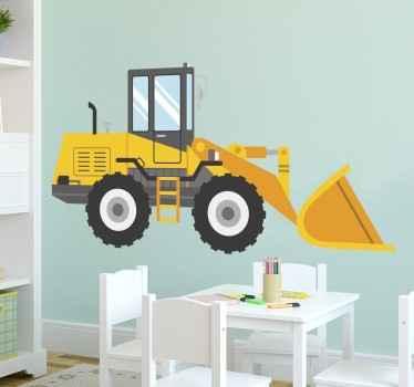 孩子黄色挖掘机墙贴纸