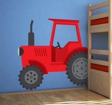 Rød traktor vegg klistremerke