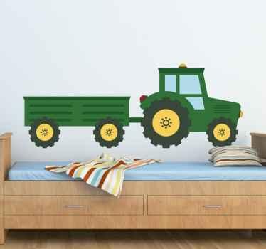 Vinilo decorativo tractor verde y vagoneta
