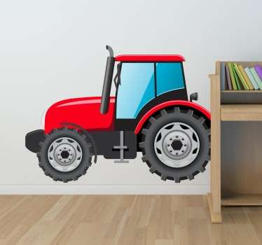 Ungar röd traktor vägg klistermärke