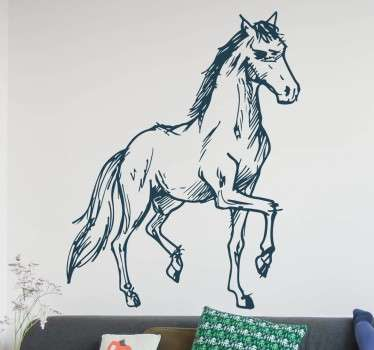 Sticker cheval trot couleur