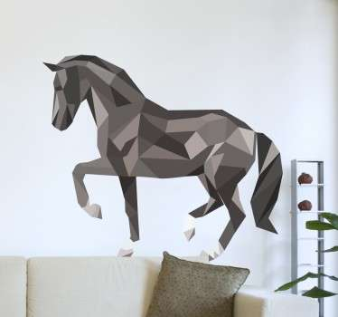 A creative design illustrating a geometric horse decal to give your home a new look. A beautiful wall art decal from our collection of horse stickers.