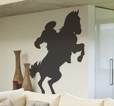 A brilliant silhouette design illustrating a horse rider! If you love horses or horse riding then this horse wall art decal is for you!