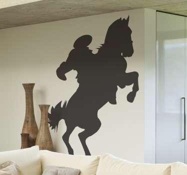 Sijajna oblika silhuete, ki ponazarja jahača konja! če imate radi konje ali jahanje, potem je ta umetniška nalepka za stene za vas!