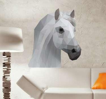 Prachtige paarden portret gemaakt in een moderne geometrische 3D design! Cool voor in de woonkamer of in de slaapkamer voor de paarden liefhebbers.